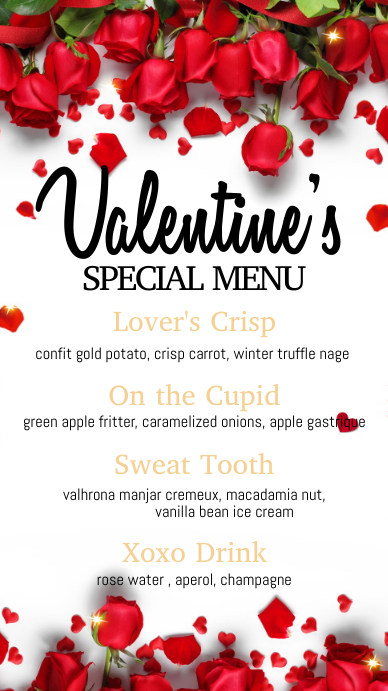 valentine's menu, valentine, menu Digitale Vertoning (9:16) template