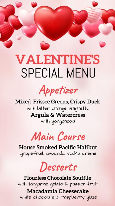 valentine's menu, valentine, menu Digitalt display (9:16) template