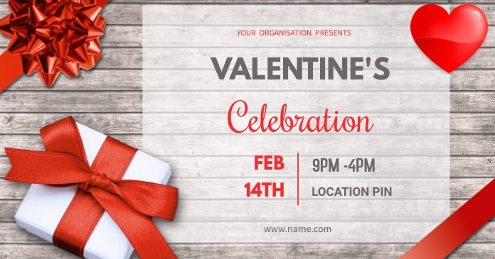 Valentine's party delt Facebook-billede template