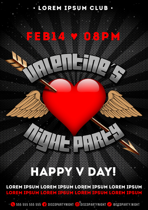 VALENTINE'S PARTY POSTER A4 template