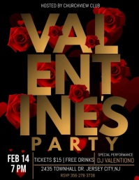 Valentine's party video template, Flyer (US Letter)