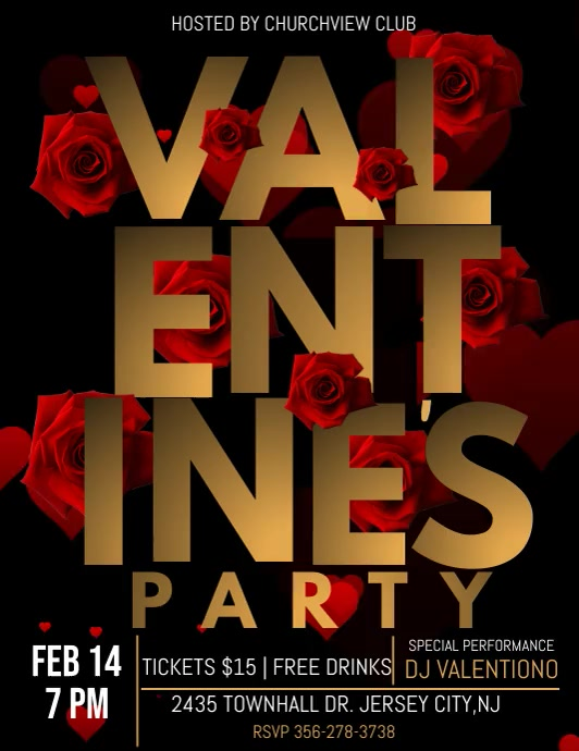 Valentine's party video template, Flyer (Letter pang-US)