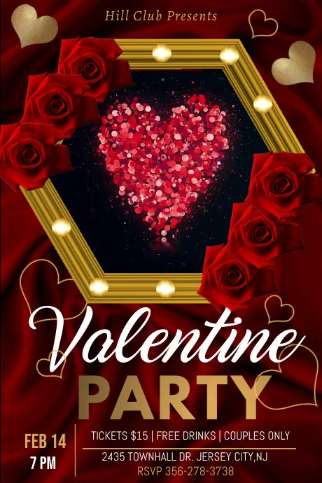 valentine's party video template Poster