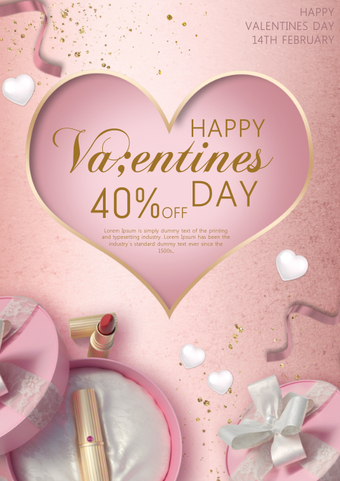 valentine's sale A4 template