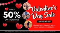 Valentine's Sale Facebook Event Cover Facebook-omslagvideo (16:9) template