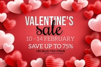 VALENTINE'S STORE SALE FLYER TEMPLATE Spanduk 4' × 6'