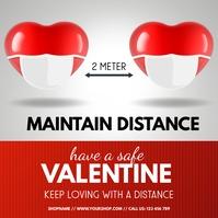 valentine, safe valentine, covid 19 Instagram-Beitrag template