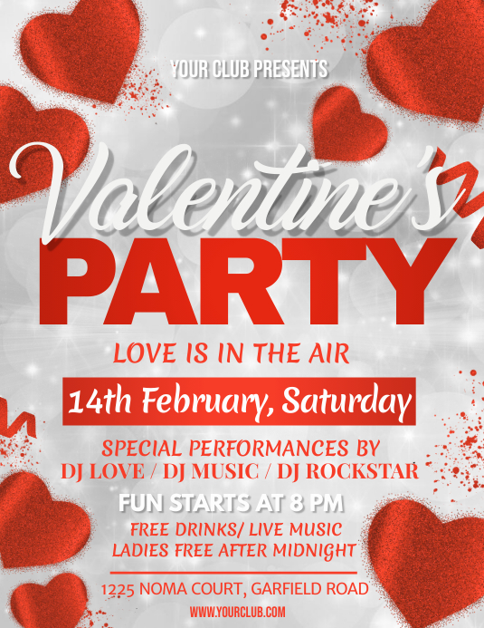valentine, valentine's day, valentines day Flyer (Letter pang-US) template