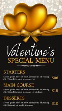 valentine, valentine's menu Digital Display (9:16) template