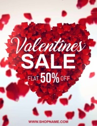valentine, valentine's sale, valentines video Pamflet (Letter AS) template