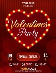 valentine, valentine party, valentine's video Flyer (format US Letter) template