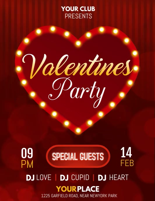 valentine, valentine party, valentine's video Flyer (US Letter) template