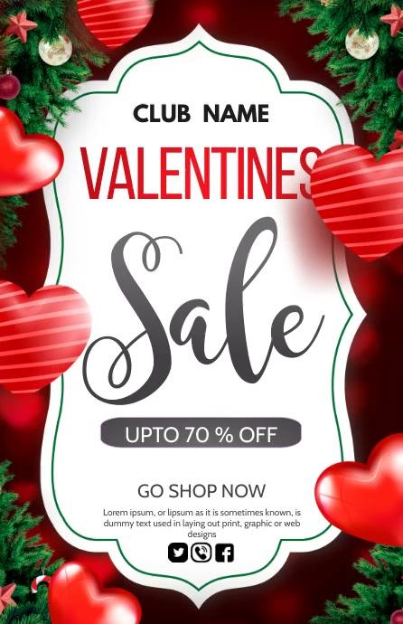 Valentine, Valentines retail Halv side bred template