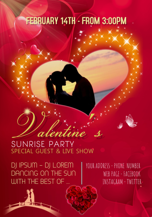 Valentine´s Party Sunrise Romantic A5 template