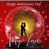 Valentine's Day Snowglobe Couples Photo โพสต์บน Instagram template