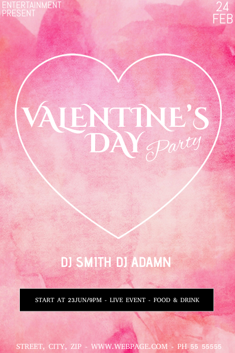Valentine's party flyer template Poster