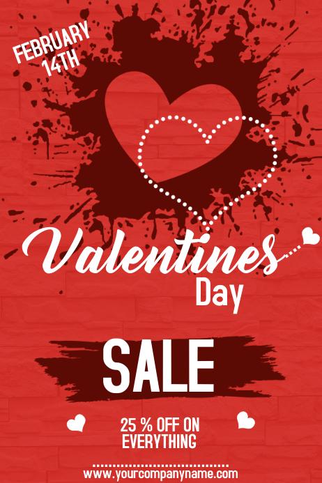 valentine poster template, valentine retail poster