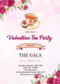 Valentine afternoon tea invitation A6 template