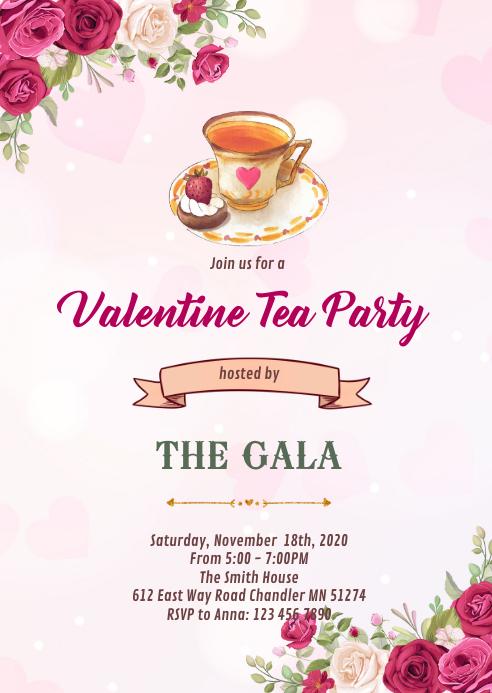 Valentine afternoon tea invitation A6 template