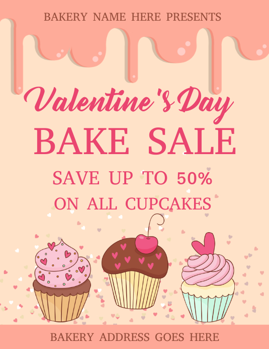 Valentine Bake sale Flyer template