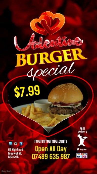 Valentine Burger Menu