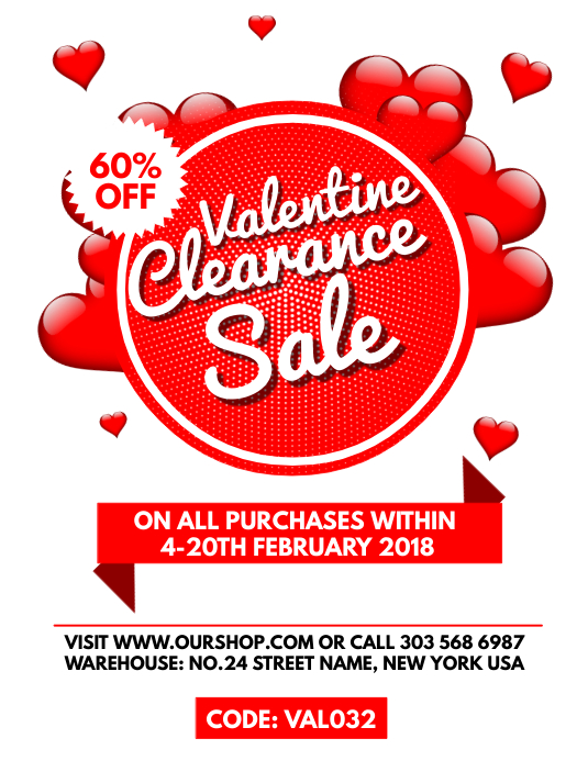 Valentine Clearance Sale Flyer Template