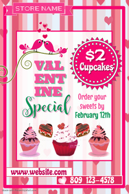 Valentine Cupcake Sale Poster Template