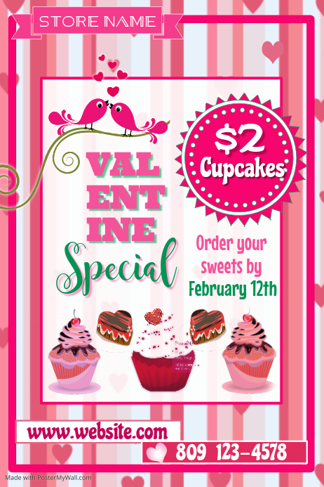 Valentine Cupcake Sale Poster Template