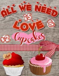 Valentine Cupcakes Poster Template
