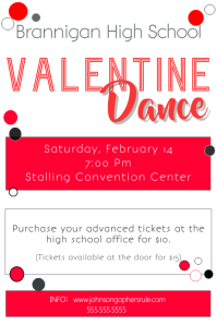 Valentine Dance/Dinner Poster template