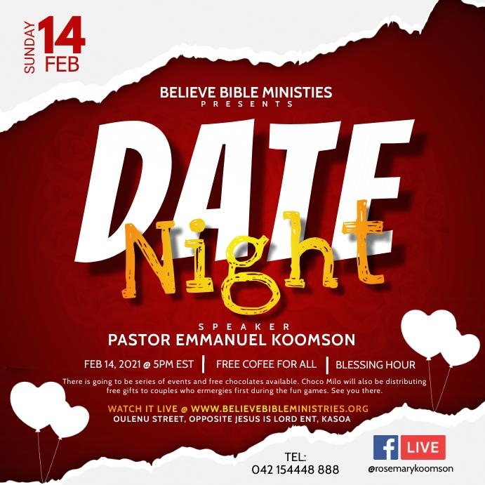 Valentine Date Night Poster Template Kvadrat (1:1)