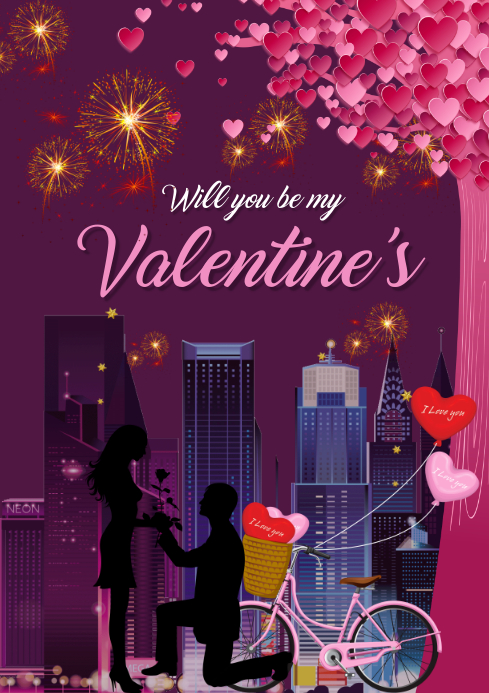 Valentine day card A3 template