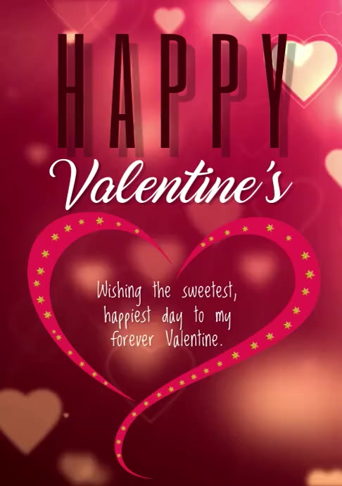 Valentine day card A4 template