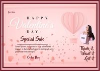 VALENTINE DAY flyer Postcard template