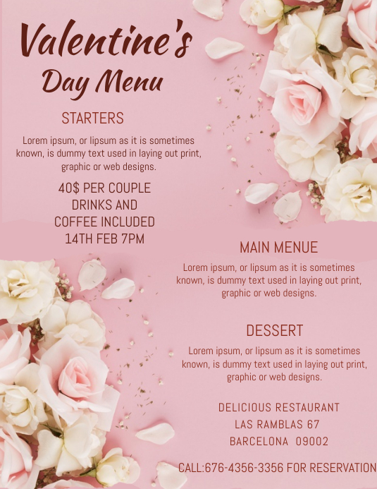 VALENTINE DAY flyer Pamflet (Letter AS) template