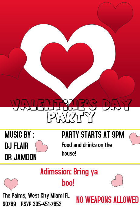 Valentine Day Party Flyer Template Postermywall