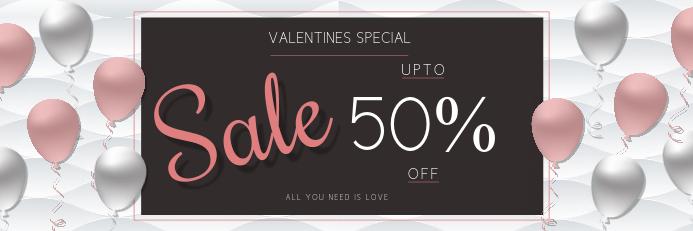 Valentine day retail template Spanduk 2' × 6'