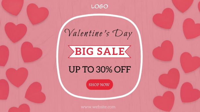 Valentine day sale Pantalla Digital (16:9) template