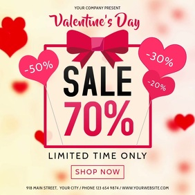 Valentine Day Sale Heart Square Video Kwadrat (1:1) template