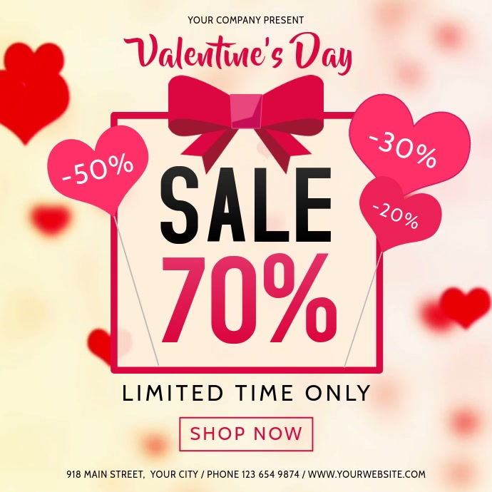 Valentine Day Sale Heart Square Video Kvadrat (1:1) template
