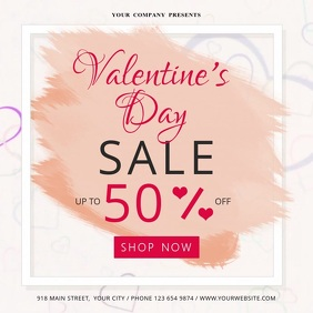 Valentine Day Sale Square Video Cuadrado (1:1) template