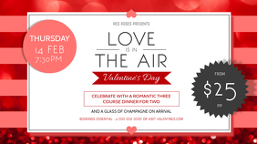 Valentine Dinner Digital Display Landscape Image template