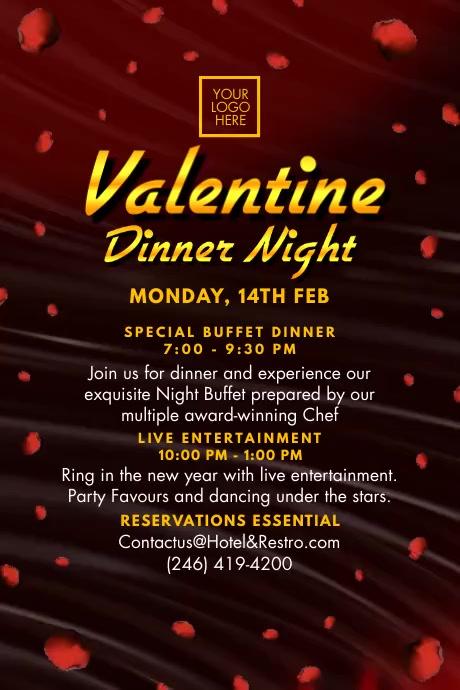 Valentine Dinner Night 2021 Template Poster