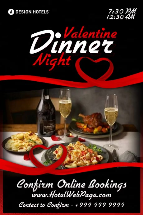 Valentine Dinner Night 2021 Template โปสเตอร์