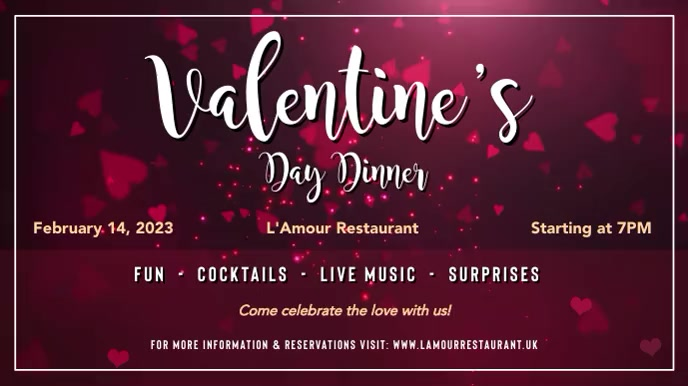 Valentine Dinner Red Digital Display Video template