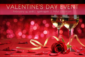 Valentine Event Champagne Love Couples Romance VDay Red Rose