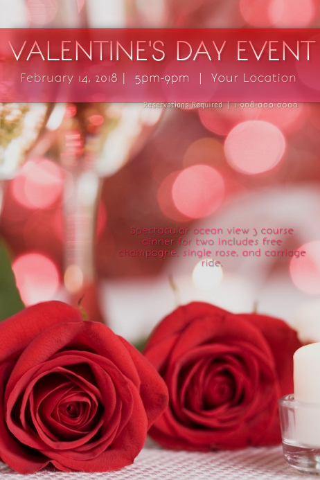Valentines dating card flyer template