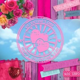 Valentine Floating Hearts V-Day Retail Ad Media Wood Pastel