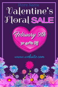 Valentine Floral Sale Poster Template