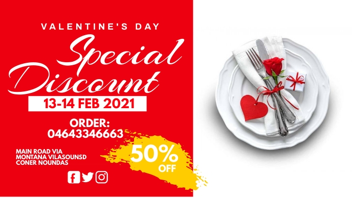 Valentine flyer Facebook Cover Video (16:9) template